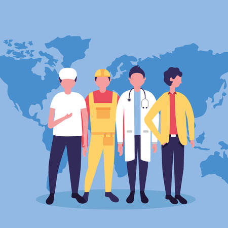 Illustration pour labor day profession people international map background vector illustration - image libre de droit