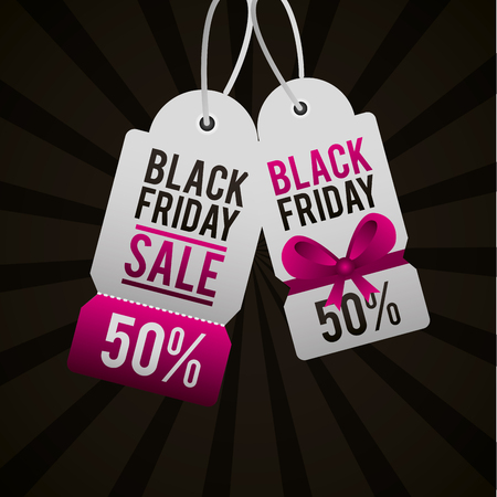 Ilustración de black friday shopping tickets discount offers vector illustration - Imagen libre de derechos
