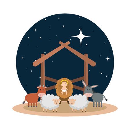 Ilustración de jesus baby in stable with sheeps and animals vector illustration design - Imagen libre de derechos