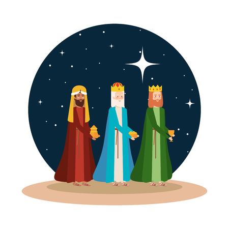 Illustration for wise kings manger on desert night scene vector illustration design - Royalty Free Image