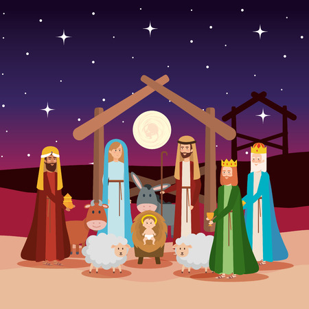 Illustration pour holy family with wise kings and animals vector illustration design - image libre de droit