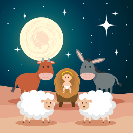 Illustration for jesus baby in stable with sheeps and animals vector illustration design - Royalty Free Image