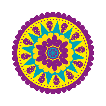 Illustration pour happy diwali card with mandala vector illustration design - image libre de droit