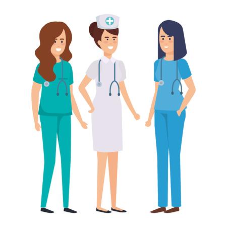 Illustration pour group of doctors with nurse vector illustration design - image libre de droit