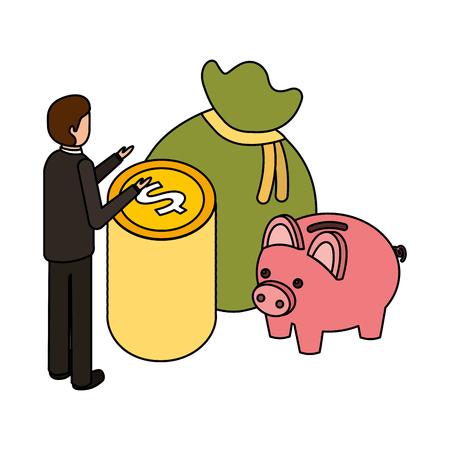 Ilustración de businessman money piggy bank and bag business vector illustration - Imagen libre de derechos
