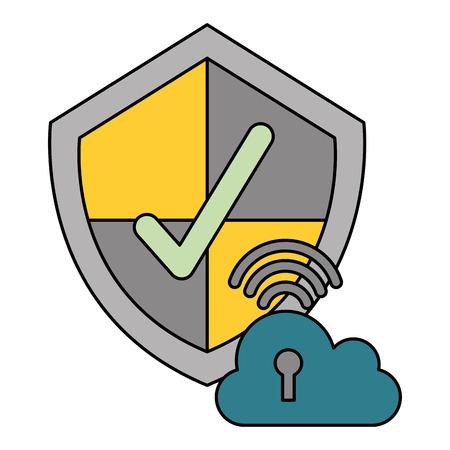 Illustration pour cloud computing shield protection security data technology vector illustration - image libre de droit