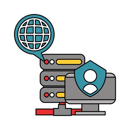 Illustration pour computer dataserver world data technology vector illustration - image libre de droit
