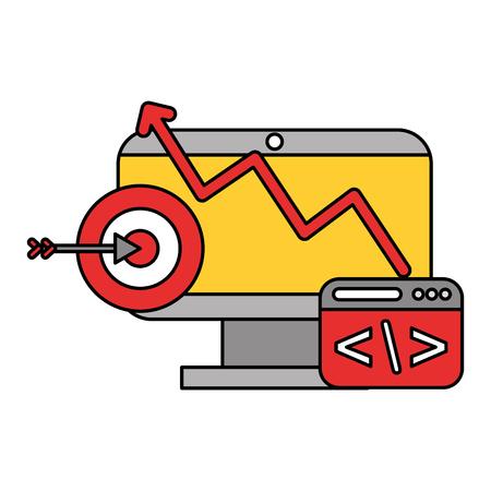 Illustration pour computer code target data technology vector illustration - image libre de droit