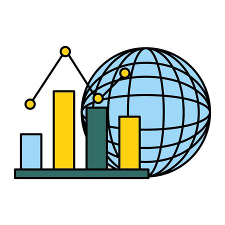 Illustration pour world business statistics chart economy vector illustration - image libre de droit