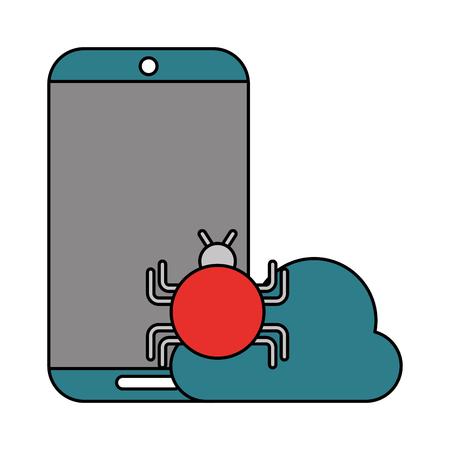 Illustration pour mobile virus cloud computing data technology vector illustration - image libre de droit
