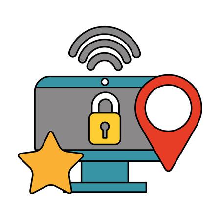 Illustration pour computer security location internet data technology vector illustration - image libre de droit