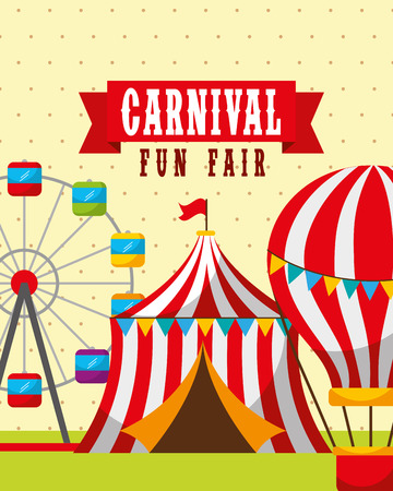 Illustration pour tent hot air balloons and carousel carnival fun fair vector illustration - image libre de droit