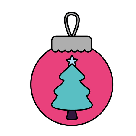Illustration pour merry christmas pink ball tree vector illustration - image libre de droit