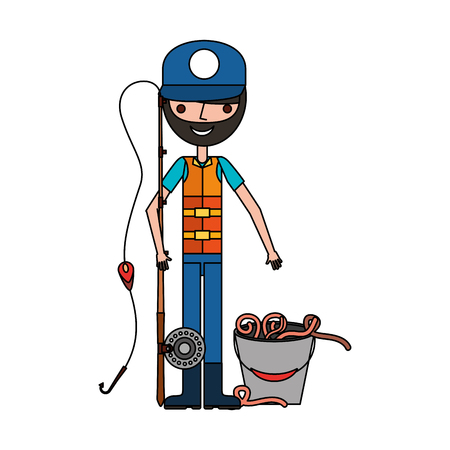Ilustración de fisherman with rod and worms in bucket vector illustration - Imagen libre de derechos