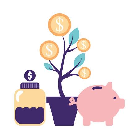 Ilustración de help piggy bank bottle plant coins donate vector illustration - Imagen libre de derechos