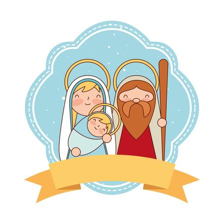Illustration pour cute sacred family label merry christmas vector illustration - image libre de droit