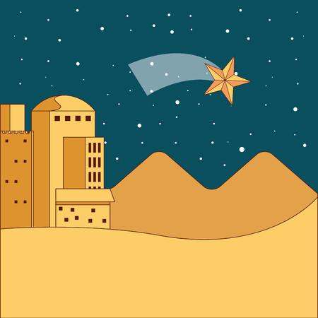 Illustration for jerusalem desert dune night star vector illustration - Royalty Free Image