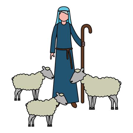 Ilustración de shepherd with flock sheep character vector illustration - Imagen libre de derechos
