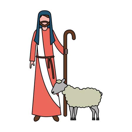 Ilustración de shepherd with stick and sheep character vector illustration - Imagen libre de derechos