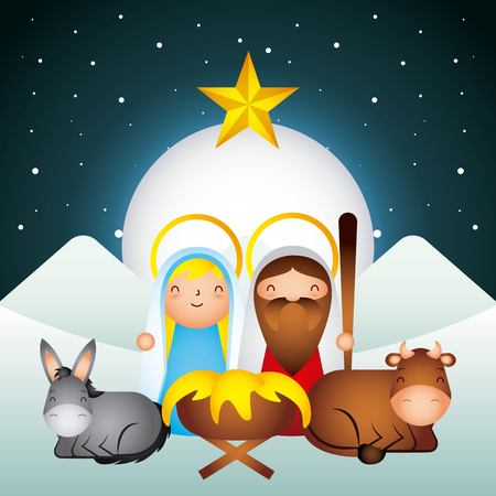 Illustration pour manger meryr christmas donkey ox sacred family moon star vector illustration - image libre de droit