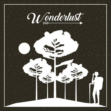 Ilustración de wanderlust travel man taking photo trees moon vector illustration - Imagen libre de derechos