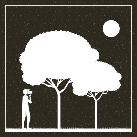 Ilustración de wanderlust travel boy taking photo trees vector illustration - Imagen libre de derechos