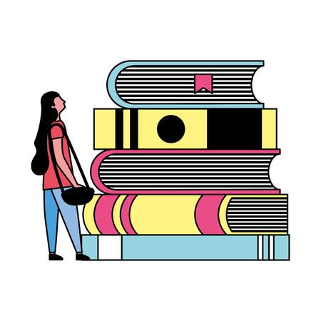 Illustration pour student woman and stack books vector illustration - image libre de droit