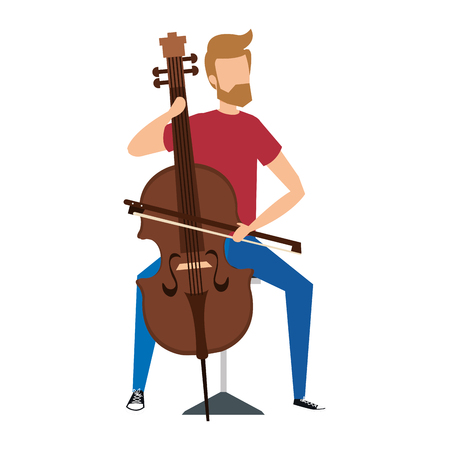 Ilustración de man playing classic cello instrument vector illustration design - Imagen libre de derechos