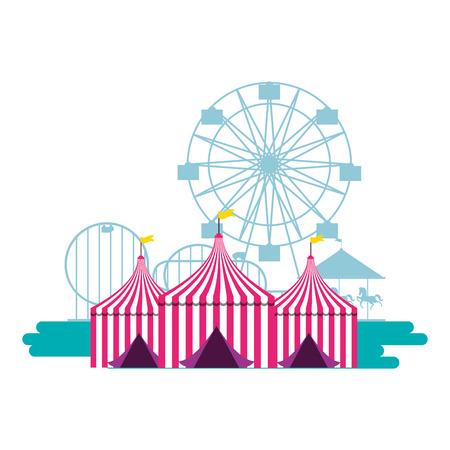 Illustration pour tents ferris wheel and roller coaster fun fair vector illustration - image libre de droit