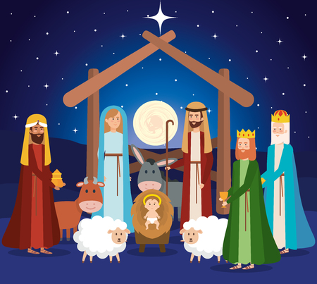 Illustration for holy family manger characters vector illustration design - Royalty Free Image