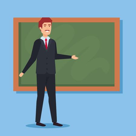 Ilustración de Teacher with blackboard, School education lesson and classroom theme Colorful design Vector illustration - Imagen libre de derechos