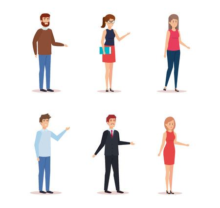 Illustration pour Women and men avatar, Person people human and social media theme Colorful design Vector illustration - image libre de droit