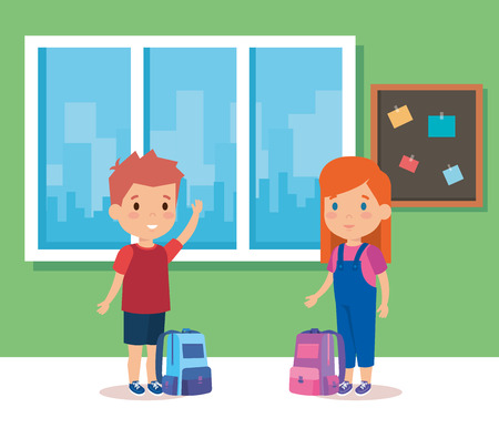 Ilustración de Kids inside classroom, School education lesson and classroom theme Colorful design Vector illustration - Imagen libre de derechos