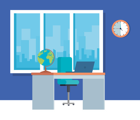 Ilustración de Furniture and objects, School education lesson and classroom theme Colorful design Vector illustration - Imagen libre de derechos