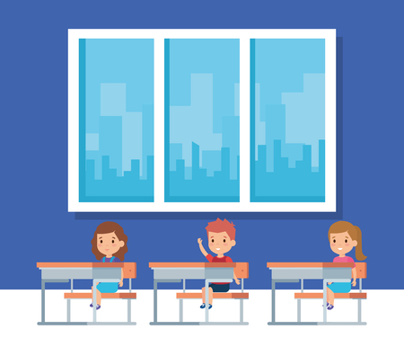 Ilustración de Kids inside classroom, School education lesson and classroom theme Colorful design Vector illustration - Imagen libre de derechos