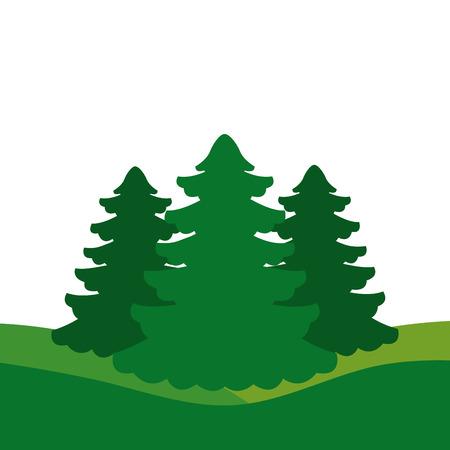 Illustration for winter landscape trees forest nature vector illustration - Royalty Free Image