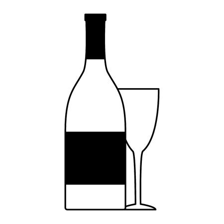 Ilustración de bottle champagne and cup on white background vector illustration - Imagen libre de derechos