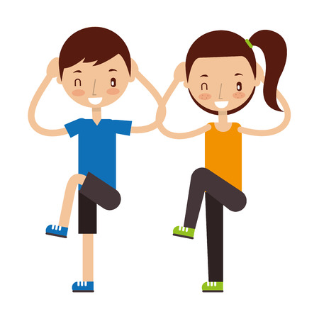 Illustration for boy and girl making exercises good habits  vector illustration - Royalty Free Image