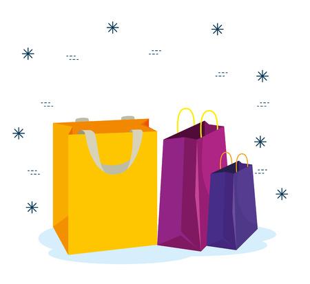Ilustración de sale bags to special promotion in the store vector illustration - Imagen libre de derechos