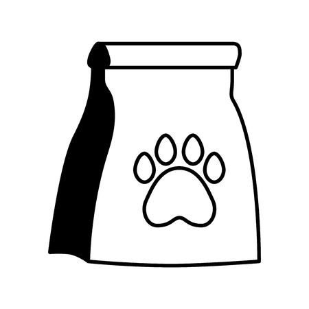 Ilustración de pet shop package paw on white background vector illustration - Imagen libre de derechos