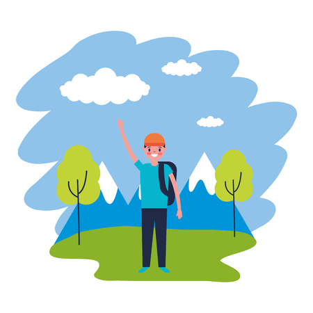 Ilustración de boy with backpack travel mountains landscape vector illustration - Imagen libre de derechos