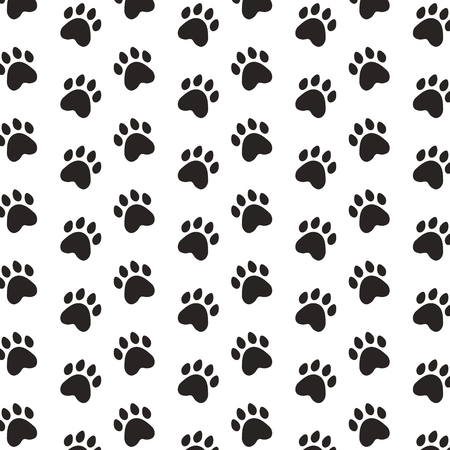 Illustration pour black paws pet background pattern vector illustration - image libre de droit