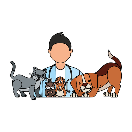 Illustration pour doctor dog cat rabbit hamster veterinary clinic vector illustration - image libre de droit