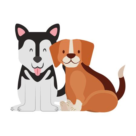 Illustration pour beagle and siberian dogs pet vector illustration - image libre de droit
