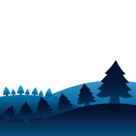 Illustration for winter landscape pine trees forest vector illustration - Royalty Free Image