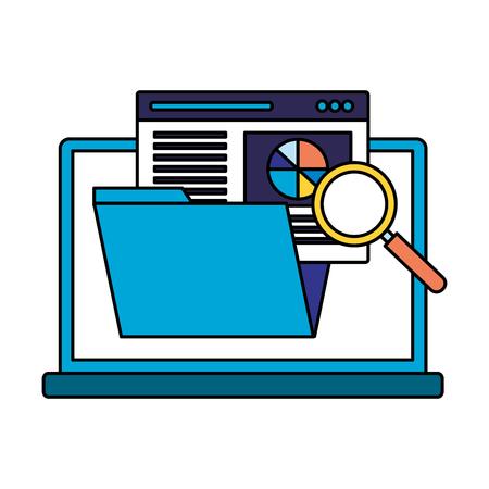 Ilustración de laptop folder page analysis search engine optimization vector illustration - Imagen libre de derechos