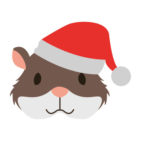 Illustrazione per cute hamster with warm hat christmas vector illustration - Immagini Royalty Free