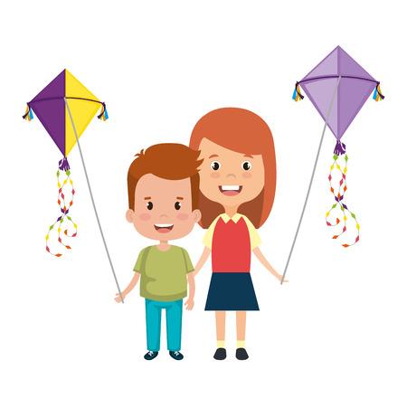 Ilustración de kids couple with kite flying vector illustration design - Imagen libre de derechos