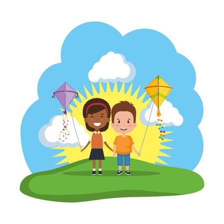 Ilustración de kids couple with kite flying in the field vector illustration design - Imagen libre de derechos