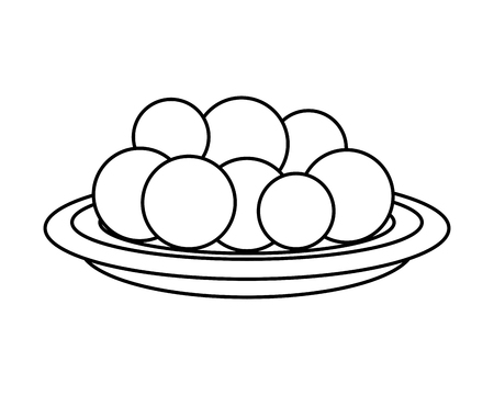 Ilustración de dish with Halwas of sugar vector illustration design - Imagen libre de derechos